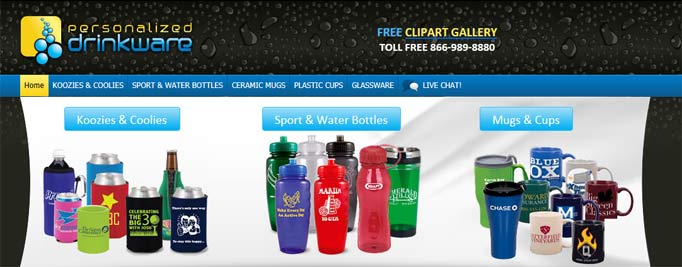 Personalised Drinkware's Website Banner Image