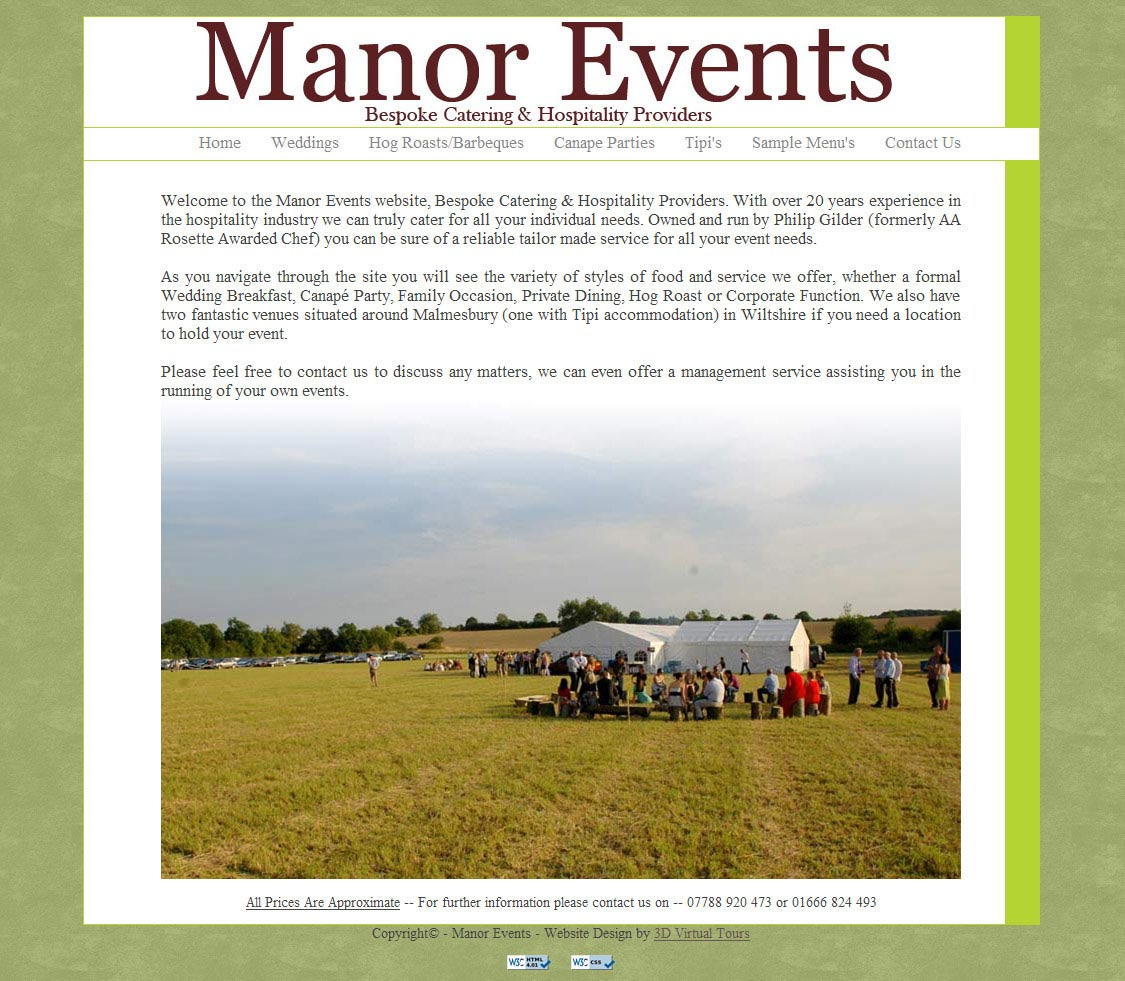 Manor Events Website Homepage Image